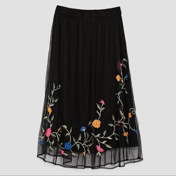 9d7b3dd27c Zara Skirts   Embroidered Floral Midi Skirt   Poshmark